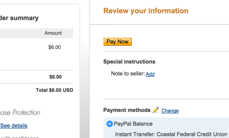 Paypal change payment link not clickable